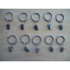 Silver Metal Drapery Rings with Clips