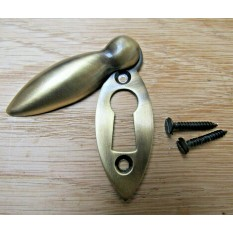 Slim Tear Drop Escutcheon Antique Brass