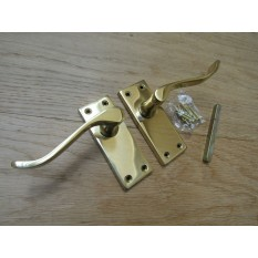 Small Lever Latch Door Handle Scroll Polished Brass