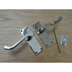 Small Lever Latch Door Handle Scroll Polished Chrome