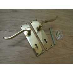 Lever Lock Door Handle Scroll Polished Brass