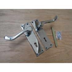 Lever Lock Door Handle Scroll Polished Chrome