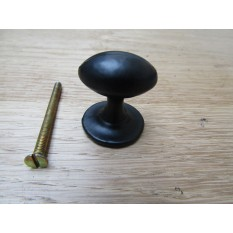 Small Oval with Base Cabinet Knob Black Antique