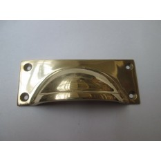 Small Rectangular Lipped Cup Pull Handle Polished Brass