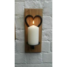 Handforged Candle holder on wood base Heart Round Plate Small