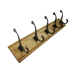 solid pine oak coat rack with antique iron cast hooks