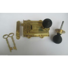 SOLID BRASS OLD ENGLISH VINTAGE PERIOD BEDROOM RIM DOOR KNOB LATCH LOCK SET