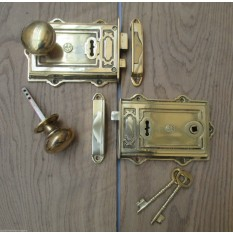 Solid Brass Rim Door Knob Lock-Left Hand