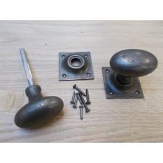 Mortice Door knob Antique Iron Oval on square base