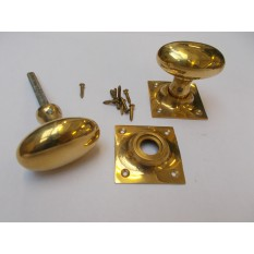 Mortice Door knob Polished Brass Oval on square base