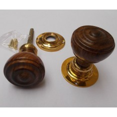 mortice teak and brass bun rimmed door knob