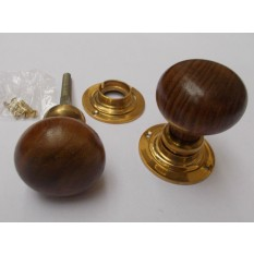 mortice teak and brass plain bun door knob