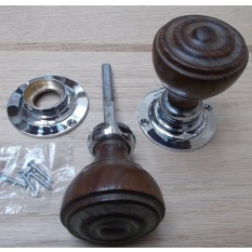 Mortice Chrome and Teak Bun Rimmed Door Knob