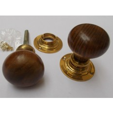 Rim door knob set Plain Round Teak and Brass
