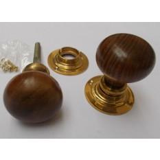 Rim door knob set Plain Round Teak and Brass
