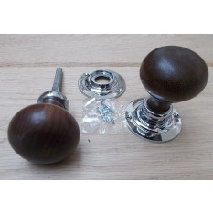 Mortice Door knob Teak + Chrome Plain Bun