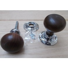 Rim door knob set Plain Round Teak and Chrome