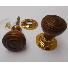 Mortice Door knob teak + Brass Bun Rimmed