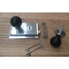 CHROME- CLASSIC OLD ENGLISH RIM DOOR LOCK KNOB HANDLE- Beehive ebony + Chrome