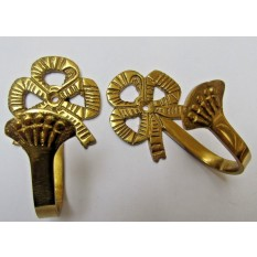 Pair of Solid Brass Traditional Bow Curtain Hooks Brass