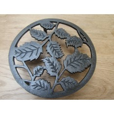 Cast Iron Leaf Circle Trivet Antique Iron