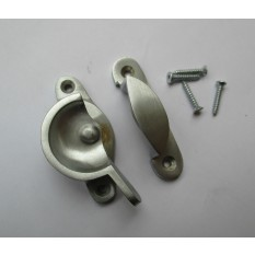 SATIN/BRUSHED CHROME-Victorian old style window fitting- Fitch Fastener Turn Catch