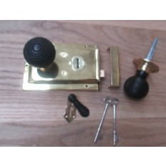 BRASS- CLASSIC OLD ENGLISH RIM DOOR LOCK KNOB HANDLE- Beehive ebony + brass