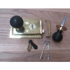 Brass-Door Lock Knob Handle- Beehive ebony + brass