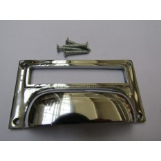 "4"" Victorian Filing Cabinet Card Holder polished chrome"