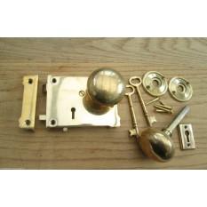 Victorian style rim lock set