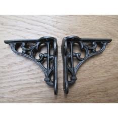 "Pair Of 2.75"" Victorian Scroll Shelf Brackets Antique Iron"