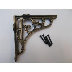"Victorian Style Scroll Bracket Antique Brass 5"""