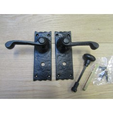 Pair Of Bathroom Lever Latch Victorian Scroll Handles Black Antique
