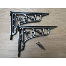 "Pair Of 9"" Victorian Scroll Shelf Brackets Antique Iron"