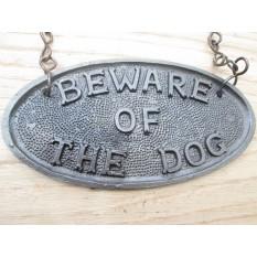 Vintage Beware Of The Dog Hanging Sign