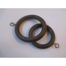 Pack Of 10 Wooden Curtain Pole Rings Dark Walnut 45mm