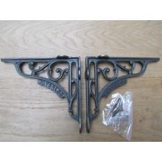 "Pair Of 8"" Waterloo Shelf Brackets Antique Iron"