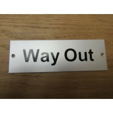 Rectangular Satin Aluminium Way Out Door Sign