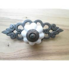 White Ceramic Cabinet Knob with Antique Iron Back Plate