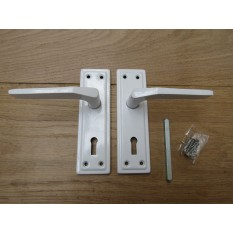 Pair of White Sprung Lever Lock Handle