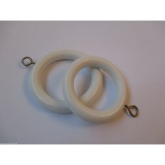 Pack Of 10 Wooden Curtain Pole Rings White 35mm