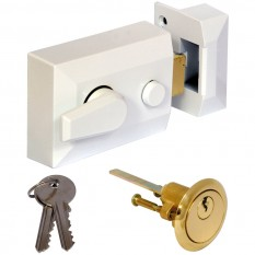 Deadlocking Nightlatch White Standard