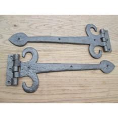 PAIR Antique cast iron spear arrow head Decorative Door Gate t-hinge Tee Hinges