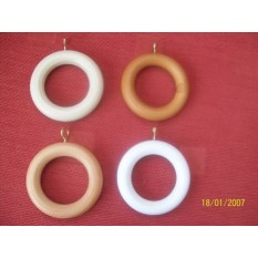 Wooden Curtain Rings with Brass Eyelets