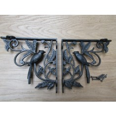 Pair Of One Bird Shelf Brackets Antique Iron