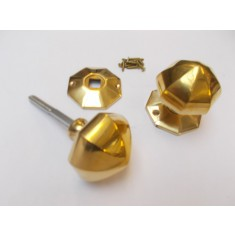 Rim Door knob set 65mm Octagonal Polished Brass