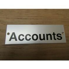 Rectangular Satin Aluminium Accounts Door Sign