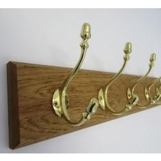 Polished Brass Acorn Coat Hook Rail