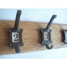 Antique Iron Ceramic Numbered Coat Hook Rail