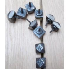 Pack of 10 door studs Beaten/Hammered Antique Iron